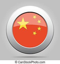 metal, botão, com, bandeira, de, china
