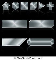 metal, botões