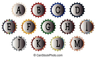 Metal Bottle Cap Alphabet A-M
