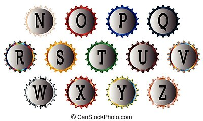 Metal Bottle Cap Alphabet N-Z