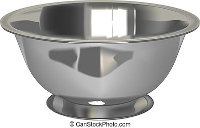 vector realistic silver bowl on white background