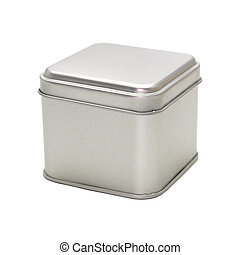 Metal box isolated on white background