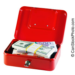 metal box with bundles of money
