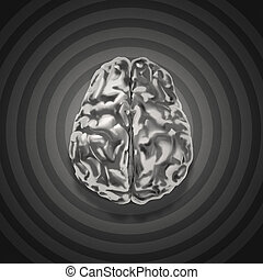 metal brain 3d with retro graphic background as concept