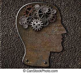 Metal brain gears and cogs. Mental illness, psychology,...