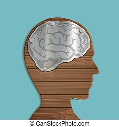 wooden human head - Metal brain inside the wooden human...
