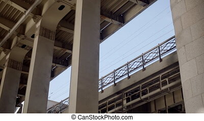 Metal bridge design from below closeup