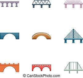Metal bridge icon set, cartoon style