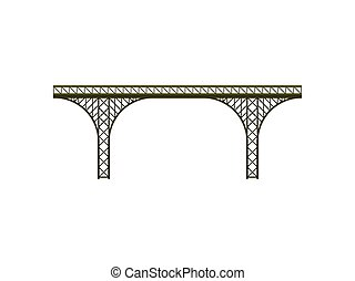Metal bridge on white background. Vector illustration.