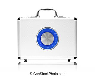 Metal Briefcase - A metal briefcase isolated against a white...