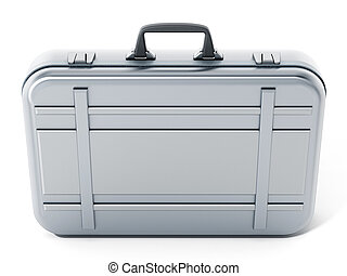 Metal briefcase isolated on white background. 3D illustration