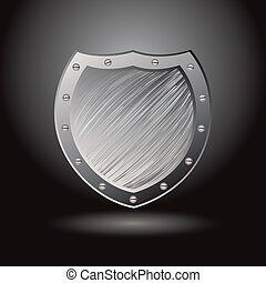 Solid secure metal shield with brushed surface background and spotlight