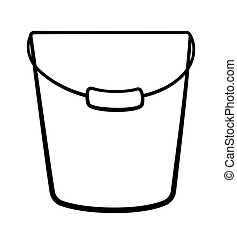 Metal bucket for cleaning with a handle in black lines on white backgound