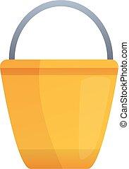 Metal bucket icon, cartoon style