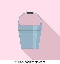 Metal bucket icon, flat style