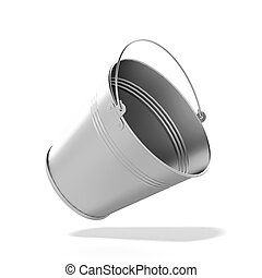 Metal bucket isolated on a white background
