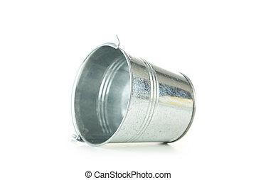 Metal bucket isolated on white