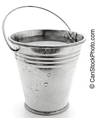 metal bucket with water against the white background