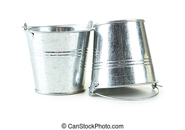 Metal buckets isolated on white