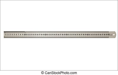 Metal building ruler, isolated on white background, realistic vector illustration