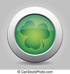 metal button - dark green shamrock