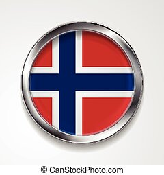 Metal button flag of Norway