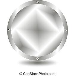 Metal button - A large, metallic  button - vector