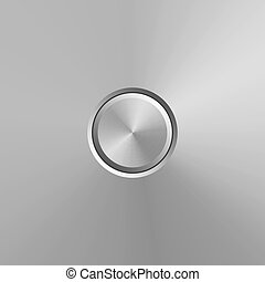 Metal button isolated on grey background. Vector realistic design element.