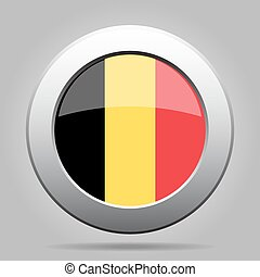 metal button with flag of Belgium