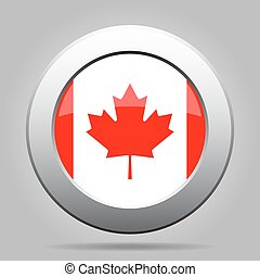 metal button with flag of Canada