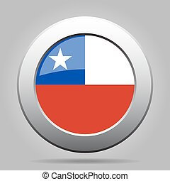 metal button with flag of Chile