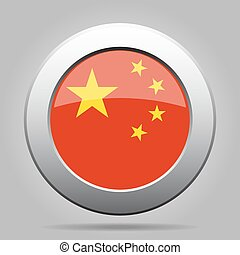 metal button with flag of China