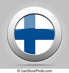 metal button with flag of Finland