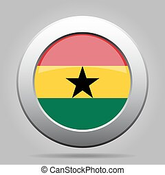 metal button with flag of Ghana