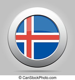 metal button with flag of Iceland