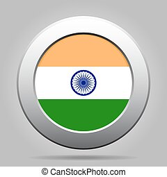 metal button with flag of India