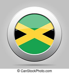 metal button with flag of Jamaica