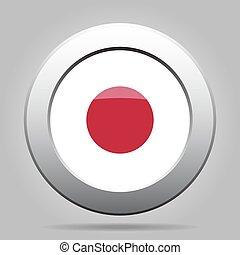 metal button with flag of Japan