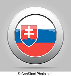 metal button with flag of Slovakia