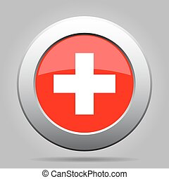 metal button with flag of Switzerland