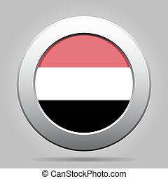 metal button with flag of Yemen