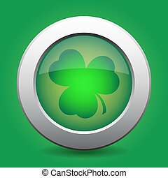 metal button with green shamrock