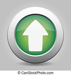 metal button with the green arrow