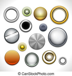 Metal buttons and rivets isolated on white. Vector...