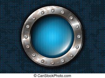 metal, círculo, con, remaches