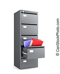 metal cabinet with an open drawer from which folders for paper are kept. 3d illustration