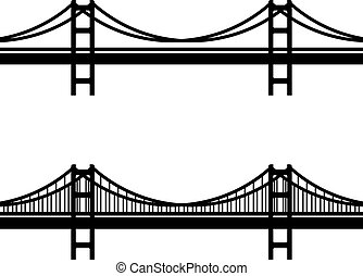 metal cable suspension bridge black symbol - illustration...
