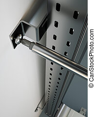 Metal cable tray assembling close up