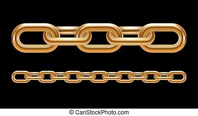 metal, cadena, enlaces