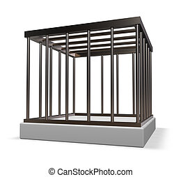 metal cage on white background - 3d illustration
